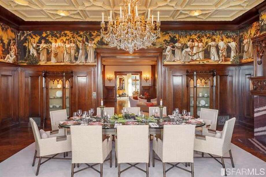 Formal dining area with fresco. Photo via SFMLS/Sotheby's International.