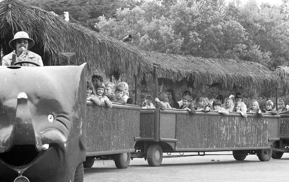 May 22, 1972: The zoo tram at the San Francisco Zoo. My first zoo memory involved this tram, which was replaced by a more streamlined tram with zebra stripes and other animal patterns. Photo: Joseph J. Rosenthal, The Chronicle / ONLINE_YES