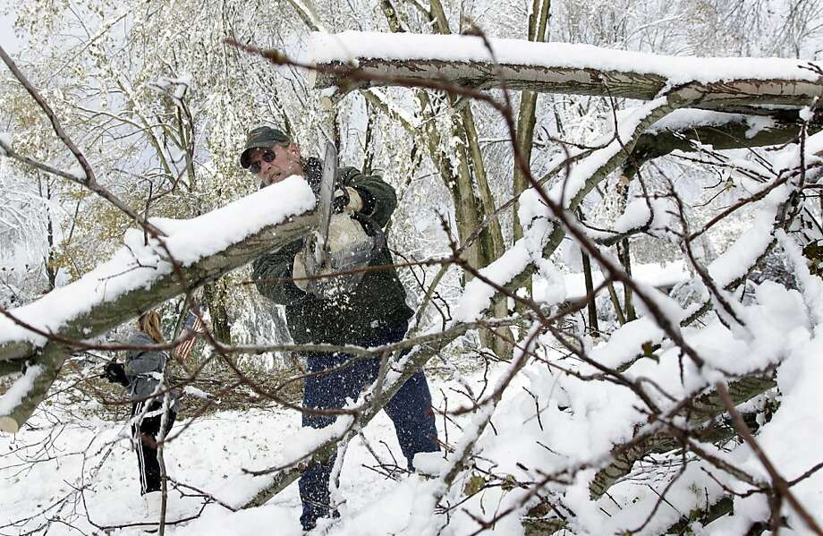 Bob Quakenbush and his daughter Dana Letual clear a fallen tree from his driveway so he can go to work,  Thursday, Nov. 8, 2012, in Millstone Township, N.J.  The New York-New Jersey region woke up to a layer of wet snow and more power outages after a new storm pushed back efforts to recover from Superstorm Sandy. Photo: Mel Evans, Associated Press