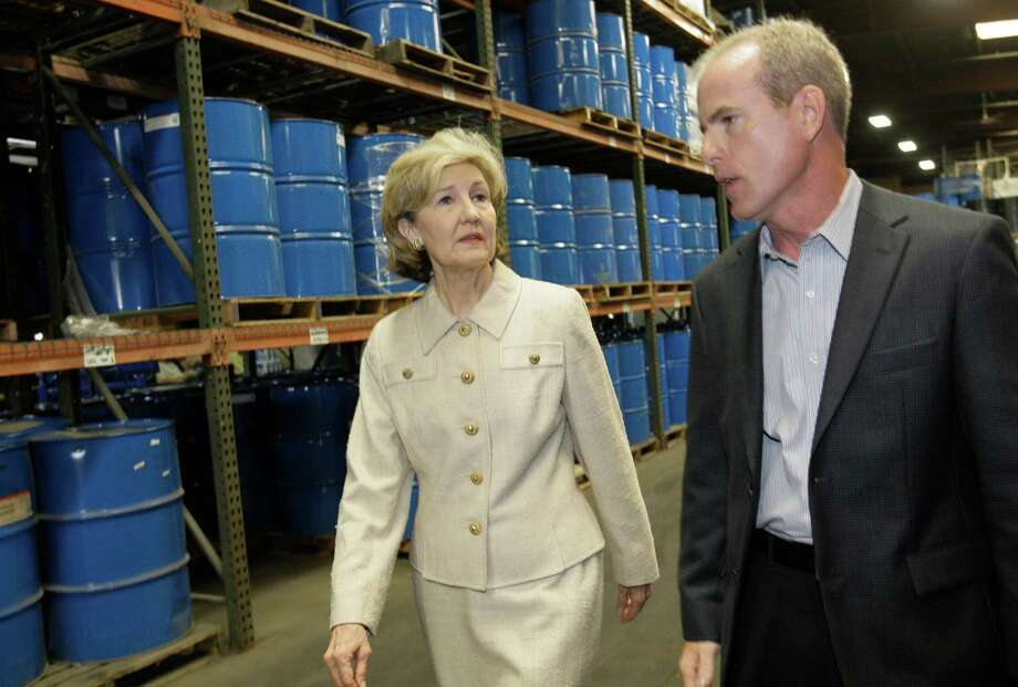 Senator Kay Bailey Hutchison tours The Hurt Company, Inc., 3310 Alice Street, with Jay Hurt, president and CEO of the third generation small business  Tuesday, Sept. 1, 2009, in Houston. Photo: Melissa Phillip, Houston Chronicle / Houston Chronicle