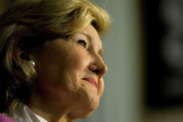 Texas Sen. Kay Bailey Hutchison, helped METRO celebrate the ground breaking on north and southeast light-rail corridors at Union Station in Minute Maid Park Monday, July 13, 2009, in Houston. Photo: Johnny Hanson, Chronicle / Houston Chronicle