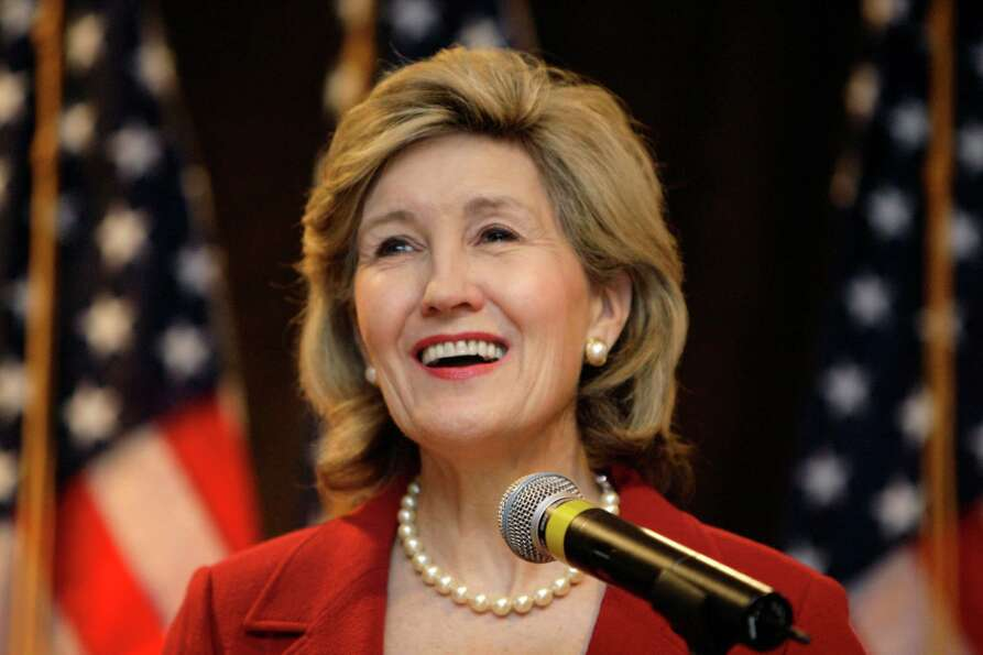 Sen. Kay Bailey Hutchison smiles while speaking to supporters in Dallas on Nov. 7, 2006.