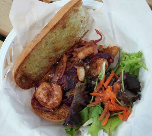 Lil' Shrimp Boy (sauteed shrimp po-boy on gluten-free bread) from Sweet Yams. Photo: Juanito M Garza, San Antonio Express-News / San Antonio Express-News