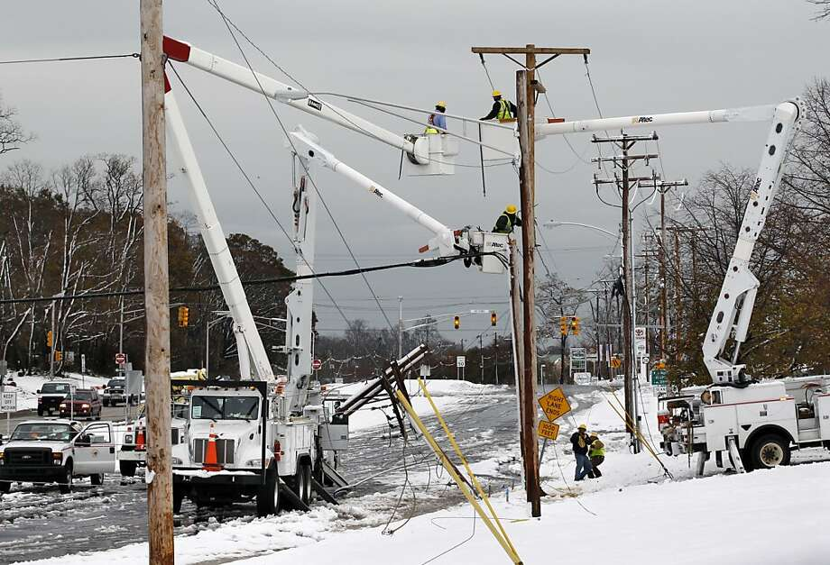 """Nor'easter:Storms with strong northeast winds crash into New England and the mid-Atlantic states, producing high winds, rain and snow. This one hit New Jersey a week after Superstorm Sandy in 2012. When a nor'easter met up with a hurricane in 1991, it produced the deadly """"perfect storm"""".  Photo: Mel Evans, Associated Press"""