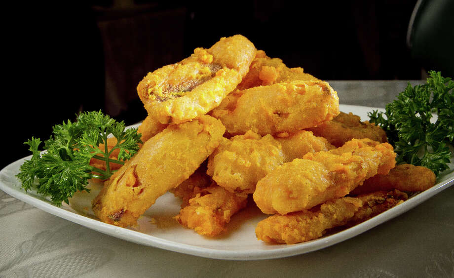 Pumpkin Strips with Salted Egg at Hakka. Photo: John Storey, Special To The Chronicle / John Storey