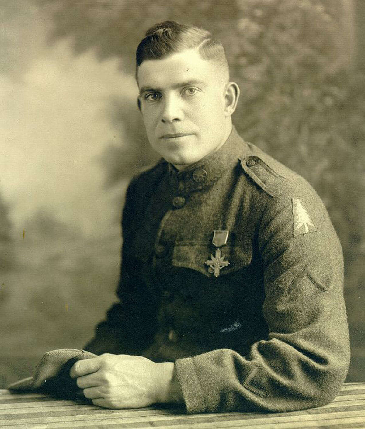 Cpl. Michael Carter, wearing the uniform of a signal corps soldier, was a member of the Headquarters Company, 361st Infantry, 91st Division. He was the grandfather of Brig. Gen. Theresa Carter, commander of Joint Base San Antonio.
