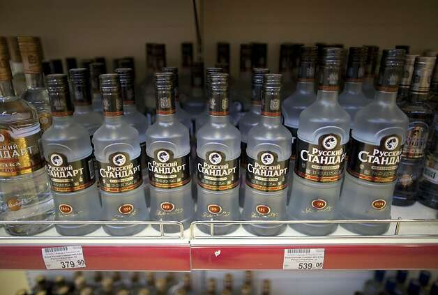 A display of Russian Standard vodka bottles stands on an OAO Magnit store shelf in Krasnodar, Russia. Photo: Andrey Rudakov, Bloomberg