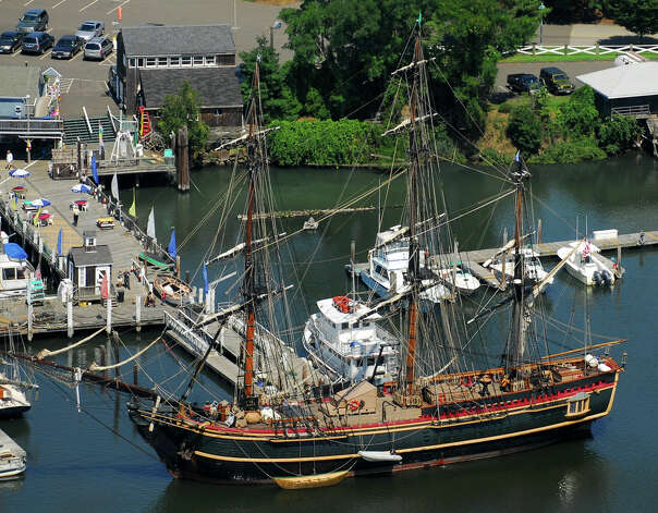 HMS Bounty docked at Captain's Cove, in Bridgeport, Conn. Aug. 16th, 2012. Morgan Kaolian AEROPIX Photo: Morgan Kaolian AEROPIX