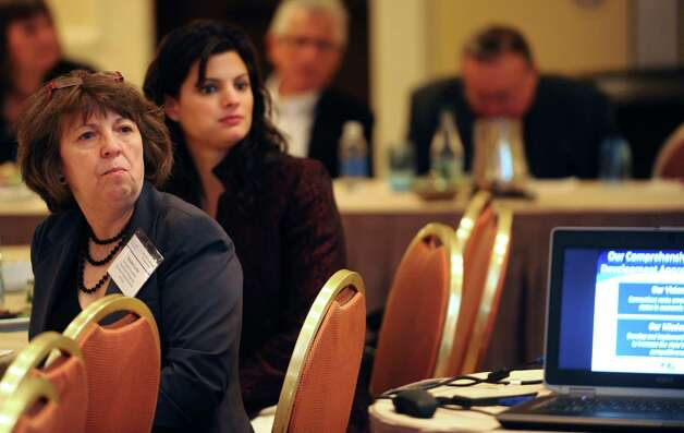 From left, Katalin Csorba, head of the Hungarian Economic Representatives in the U.S.A, and Melissa Grosso, senior international trade specialist with the U.S. Department of Commerce, listen to fellow panel speaker Beatriz Gutierrez of the Department of Economic and Community Development, during the Central and Eastern European Network session at the Marriott hotel in Stamford, Conn., on Thursday, November 8, 2012. Photo: Lindsay Niegelberg / Stamford Advocate