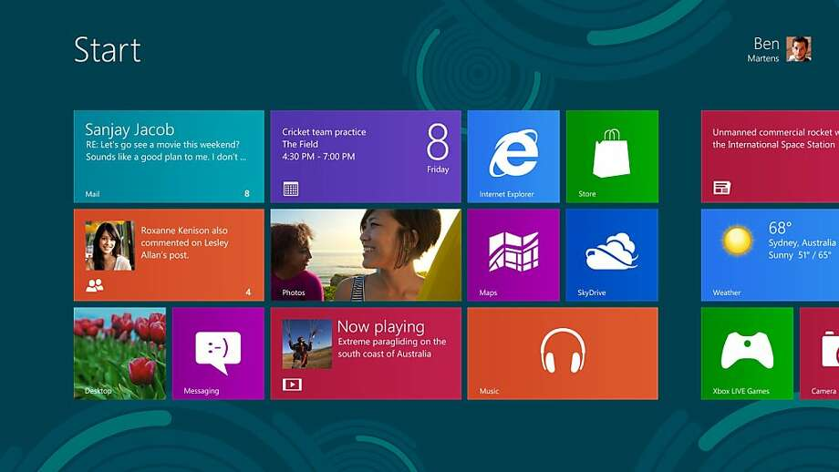 Windows 8 start screen. Photo: Microsoft