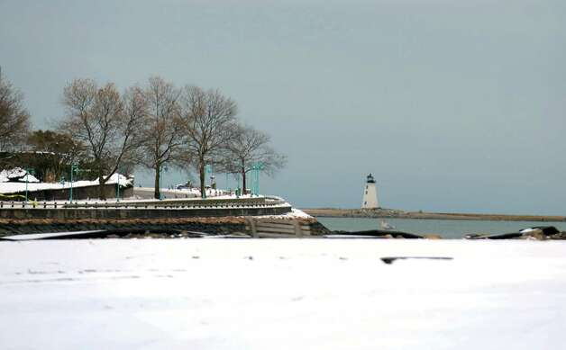 A snowy St. Mary's by the Sea in Bridgeport, Conn. on Thursday, Nov. 8, 2012. Photo: Cathy Zuraw / Connecticut Post