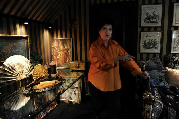 Kathe Birnbaum, an artist and decorator, shows her home in Greenwich Wednesday, Oct. 17, 2012. Birnbaum in another room. Photo: Helen Neafsey / Greenwich Time