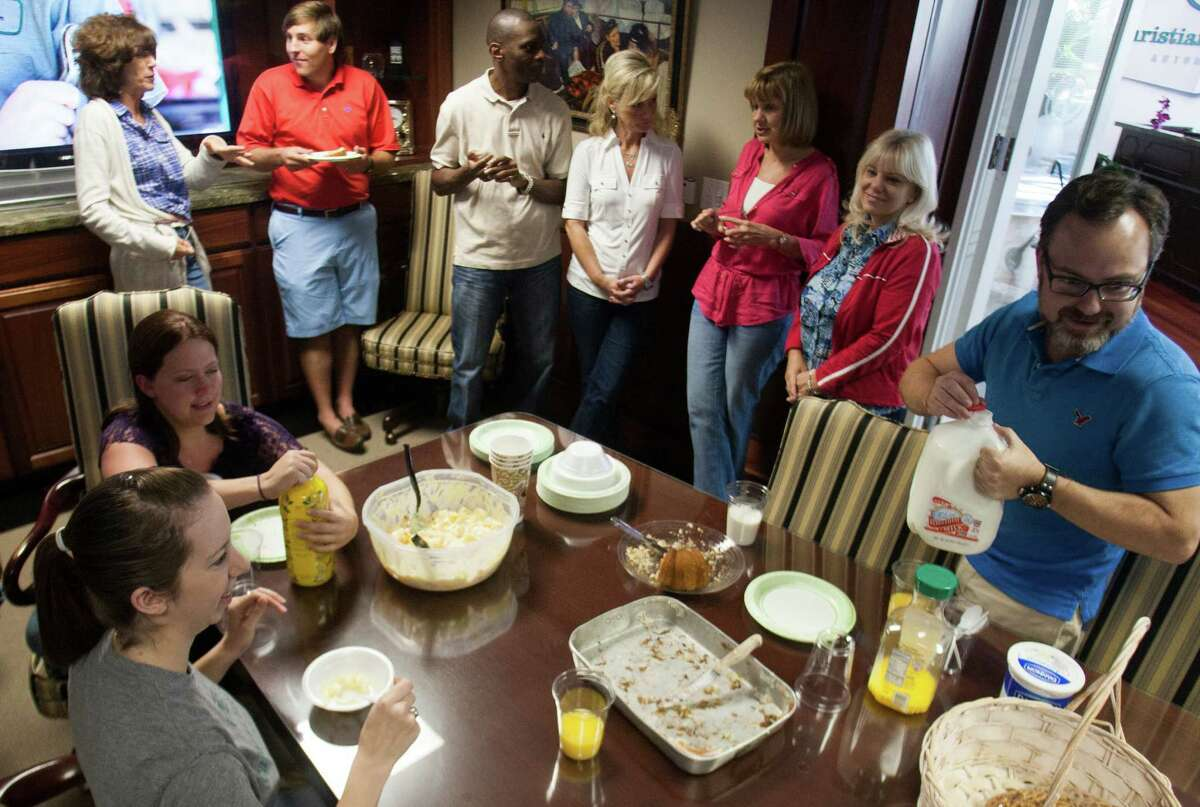 Christian Brothers departments take turns bringing in breakfast on Fridays. The weekly event is part of a social networking session that lasts an hour.