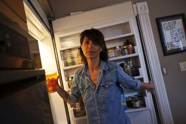 Atelier Crenn's Dominque Crenn stocks her refrigerator with the makings of her style of comfort food. Photo: Sonja Och, The Chronicle