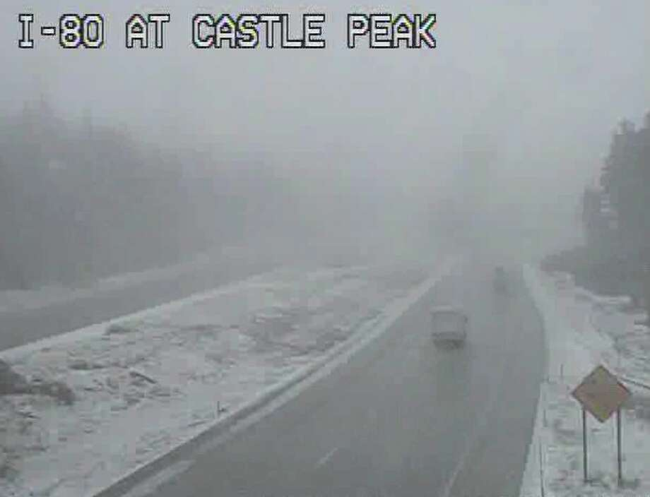 A wintry mix of snow and rain was falling at 2:30 p.m. on I-80 adjacent to Boreal