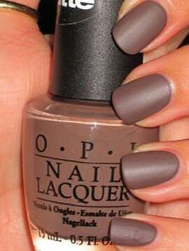 "Matte To achieve this look, all you have to do is apply three coats of OPI ""You Don't Know Jacques Matte,"" pictured here, or any other polish from the OPI matte collection. For this manicure, using a top coat would ruin the matte look and make your nails look shiny. You can, however, use a matte top coat, which can also be found at OPI.  Manicure courtesy of Amy at nailstah.com."