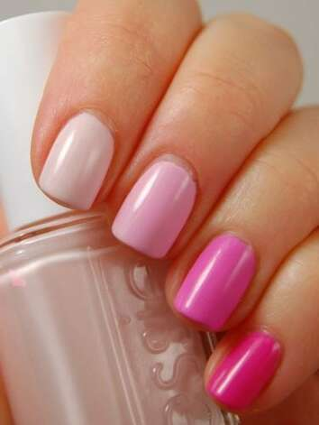 "Ombré mani Choose five polishes that are similar in color but vary in saturation — similar to how a paint swatch looks. Listed from thumb to pinky, the polishes are OPI ""Step Right Up,"" Essie ""Fiji,"" Essie ""Raise Awareness,"" China Glaze ""Dance Baby,"" and OPI ""Shorts Story.""  Manicure courtesy of Amy at Gotham Polish.