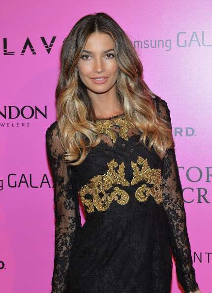 Model Lily Aldridge attends Samsung Galaxy features arrivals at the official Victoria's Secret fashi