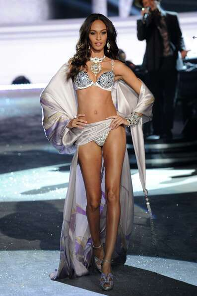 Model Joan Smalls walks the runway during the Victoria's Secret 2012 Fashion Show on November 7, 201