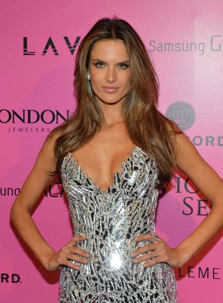 Model Alessandra Ambrosio attends Samsung Galaxy features arrivals at the official Victoria's Secret