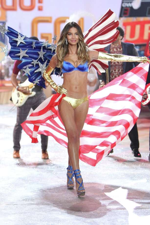 This Nov. 7, 2012 photo released by Starpix shows Lily Aldridge wearing a patriotic creation during a rehearsal for the 2012 Victoria's Secret Fashion Show in New York.  The show will be broadcast on Tuesday, Dec. 4 on CBS. Photo: Kristina Bumphrey, Associated Press / STARPIX