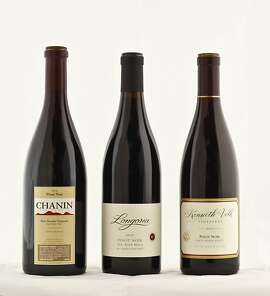 Left-right: 2010 Chanin Bien Nacido Vineyard Santa Maria Valley Pinot Noir; 2010 Longoria Fe Ciega Vineyard Sta. Rita Hills Pinot Noir; 2010 Kenneth Volk Vineyards Santa Maria Cuvee Santa Maria Valley Pinot Noir.