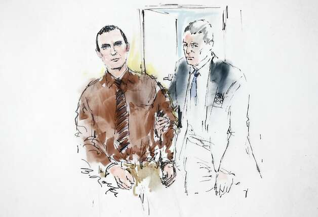 In this courtroom sketch, Jared Loughner is lead into the courtroom by a U.S. Marshal prior to sentencing in U.S. District Court Thursday, Nov. 8, 2012, in Tucson, Ariz. U.S. District Judge Larry Burns sentenced Loughner, 24, to life in prison, for the January 2011 attack that left six people dead and Giffords and others wounded. Loughner pleaded guilty to federal charges under an agreement that guarantees he will spend the rest of his life in prison without the possibility of parole.  (AP Photo/Bill Robles) Photo: Bill Robles, Associated Press