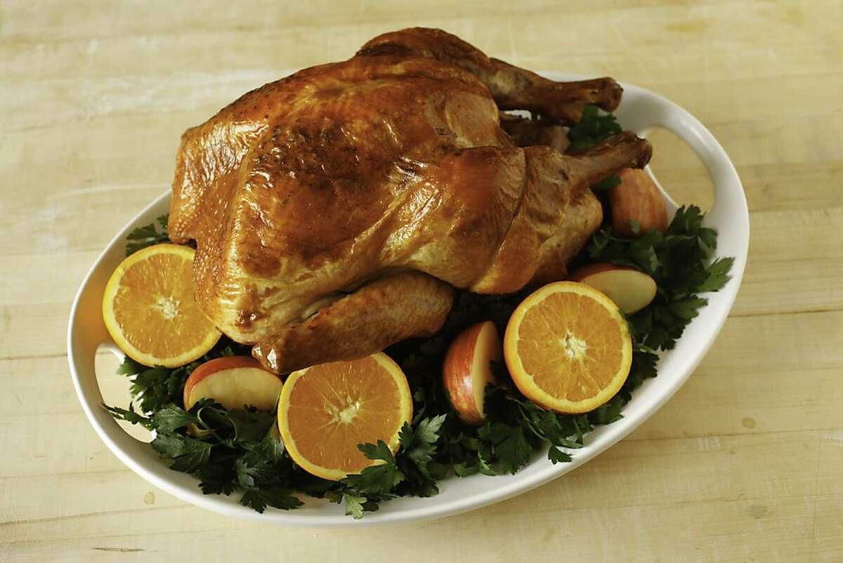 Roasted turkey on a platter as seen in San Francisco, California.