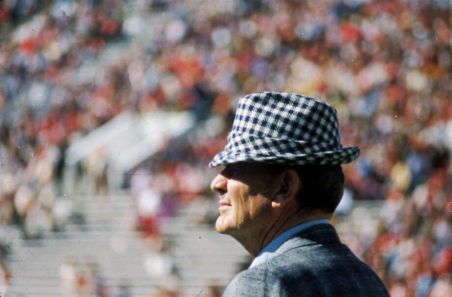 "This is a 1972 file photo of Paul ""Bear"" Bryant. About 100 people will meet in Tuscaloosa, Ala. Saturday to celebrate Bryant's birthday, who would have been 83 Wednesday Sept. 11, 1996 . All of those invited to the party before Saturday's Alabama-Vanderbilt game were named after the late Alabama coach, Paul ``Bear'' Bryant. Photo: HOLLOWAY, Associated Press / AP"