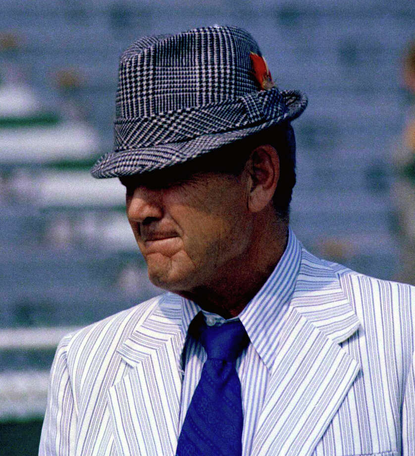 In this 1971 file photo, Alabama coach Paul 'Bear' Bryant is shown. Bear Bryant of Alabama and John McKay of Southern California were friends because they could be _ two coaches who enjoyed a round of golf, a good joke and didn't have to worry about stepping on each other since they worked on opposite sides of the country. Photo: JH, AP / 1971 AP