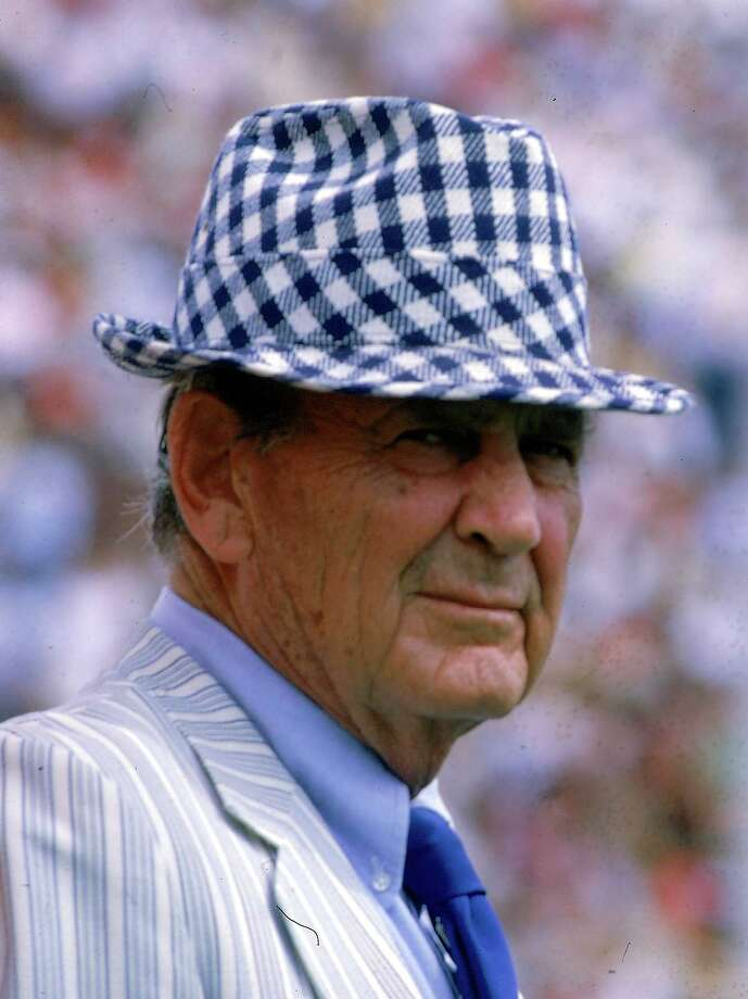 "Paul ""Bear"" Bryant, University of Alabama football coach, wears his usual hat during a football game in Sept. 1980.  Photo: JOE HOLLOWAY JR., AP / AP"