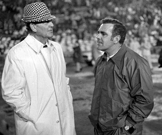 "Alabama coach Paul ""Bear"" Bryant talks with Notre Dame coach Ara Parseghian prior to the 1973 Sugar Bowl in New Orleans, La. Parseghian recently talked about the pressure to win at Notre Dame. Photo: JOE RAYMOND, AP / AP"