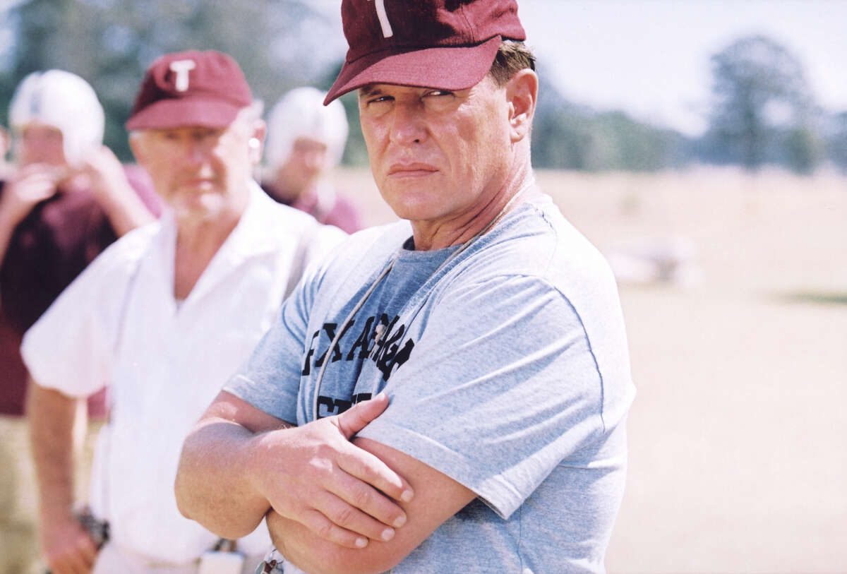 Tom Berenger (pictured center foreground) plays Coach Bear Bryant in the made-for-television movie, 'The Junction Boys' based on the best-selling book by Jim Dent. Bryant considered his Texas A&M team weak when he took over, but he changed that.