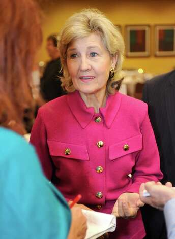 U.S. Sen. Kay Bailey Hutchison, center, was the featured speaker at the Greater Beaumont Chamber of Commerce lunch Tuesday April 10, 2012. After her speech, she spoke with the local media at the Holiday Inn, Beaumont Plaza on Interstate 10 at Walden Road. She's been in the Senate since winning a special election in 1993 and now is ending her third full term this year and is not running for re-election. Dave Ryan/The Enterprise Photo: Dave Ryan