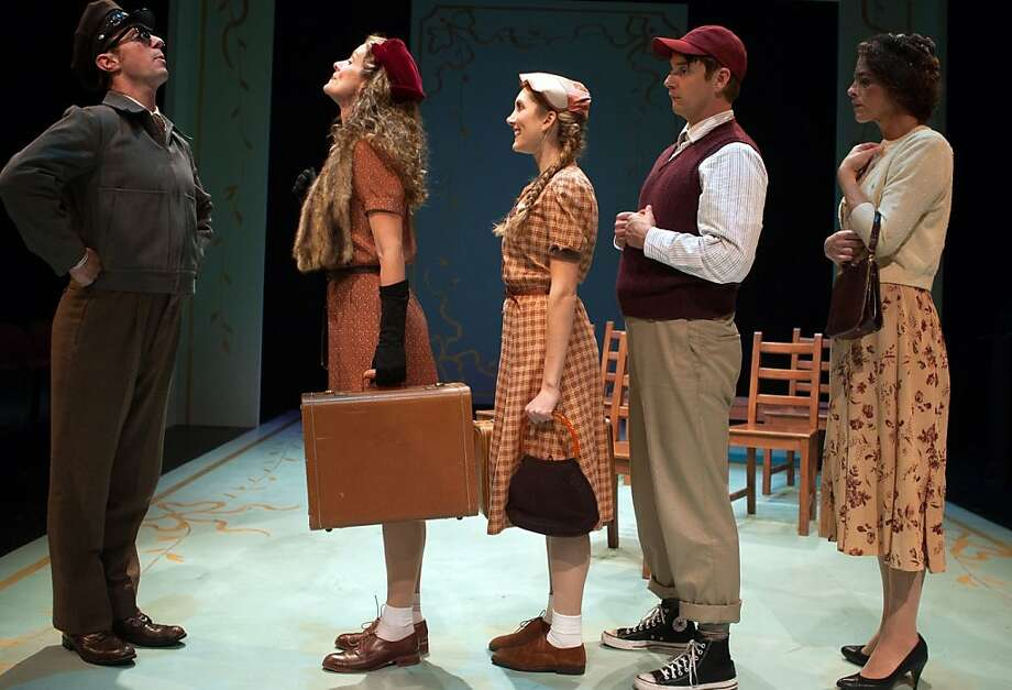 "Brian Trybom (left) welcomes Marcia Pizzo, Heather Gordon, Patrick Russell and Stacy Ross aboard the bus in Thornton Wilder's ""Childhood."" Photo: Jessica Palopoli"