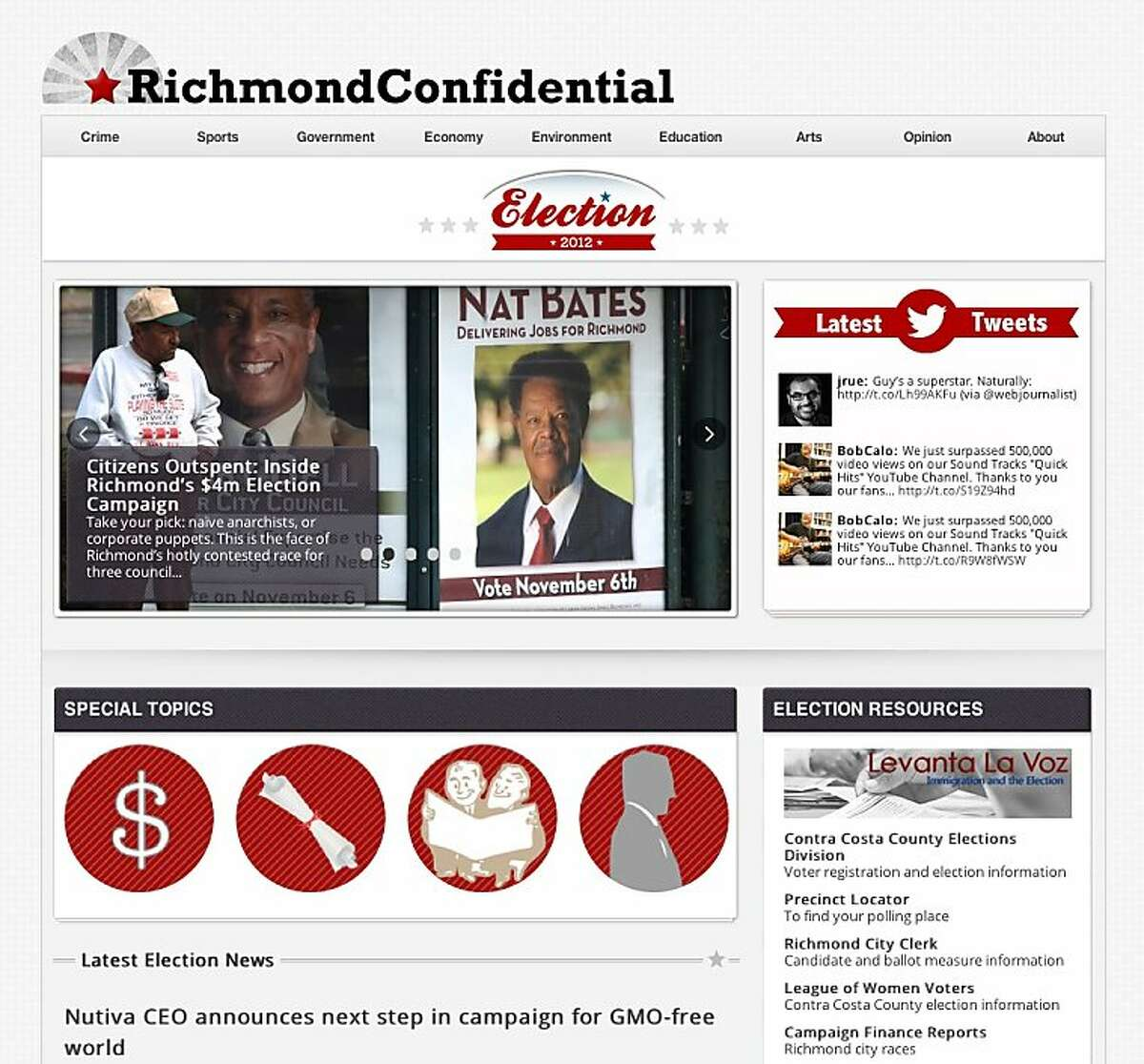 The university's online news site Richmond Confidential is among three digital news sites staffed by students.
