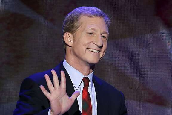 FILE - In this Sept. 5, 2012 file photo, Tom Steyer, co-founder of Advance Energy Economy, waves as he walks to the podium to address the Democratic National Convention in Charlotte, N.C. A billionaire investor from San Francisco, Steyer's stock is on the rise with California Democrats after voters approved his Proposition 39, which closes a tax loophole that benefited out-of-state corporations. (AP Photo/J. Scott Applewhite, File)