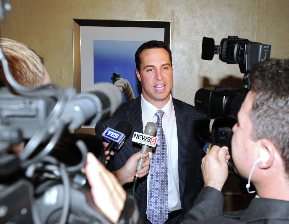 New York Yankees first baseman Mark Teixeira of Greenwich meets with the media during the National MS Society Connecticut Chapter's Dinner of Champion at the Hyatt Regency Greenwich, Thursday night, November 8, 2012. Teixeira received the J. Walter Kennedy Award for service and support for those facing multiple sclerosis, an autoimmune disease that affects the brain and spinal cord. Photo: Bob Luckey / Greenwich Time