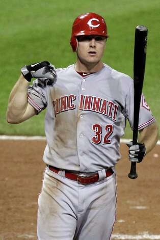 Cincinnati Reds' Jay Bruce (32) bats during a baseball game against the Pittsburgh Pirates in Pittsburgh Tuesday, May 29, 2012. (AP Photo/Gene J. Puskar) Photo: AP, STF / AP2012