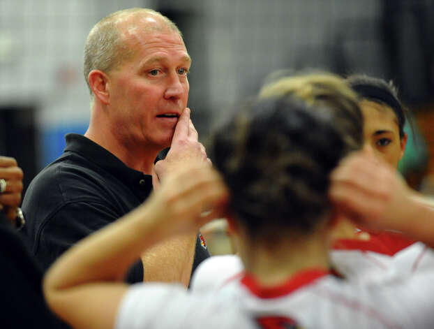 Greenwich Head Coach Steve Lapham in FCIAC Girls' Volleyball Semi-final action between Darien and Greenwich in Fairfield, Conn. on Thursday November 8, 2012. Photo: Christian Abraham / Connecticut Post