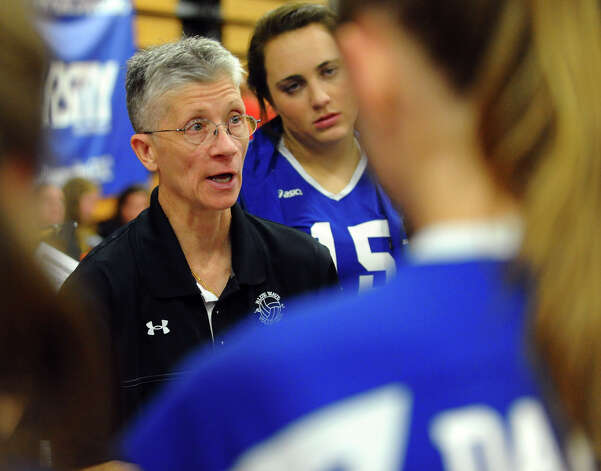 Darien head Coach Laurie LaRusso in FCIAC Girls' Volleyball Semi-final action between Darien and Greenwich in Fairfield, Conn. on Thursday November 8, 2012. Photo: Christian Abraham / Connecticut Post