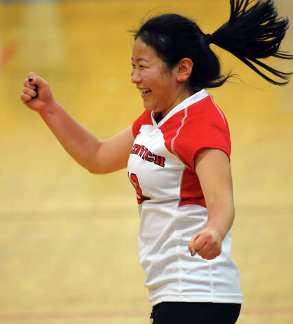 Greenwich's #9 Mirei Kato, during FCIAC Girls' Volleyball Semi-final action against Darien in Fairfield, Conn. on Thursday November 8, 2012. Photo: Christian Abraham / Connecticut Post