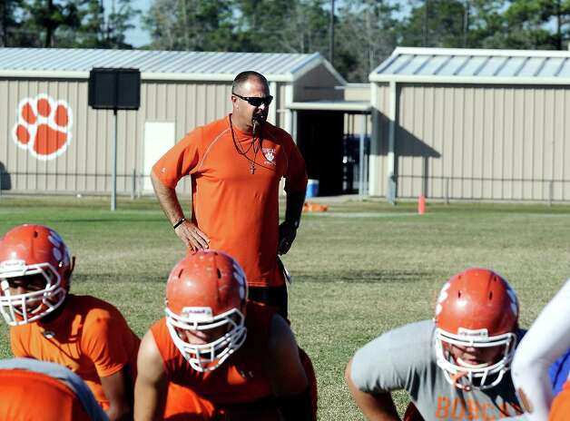 Orangefield coach Josh Smalley was born and raised a Bridge City fan and actually played football there. Smalley ends his first season as head coach playing Bridge City this Friday, November 9, 2012, to determine who moves on to the playoffs. Photo taken: Randy Edwards/The Enterprise