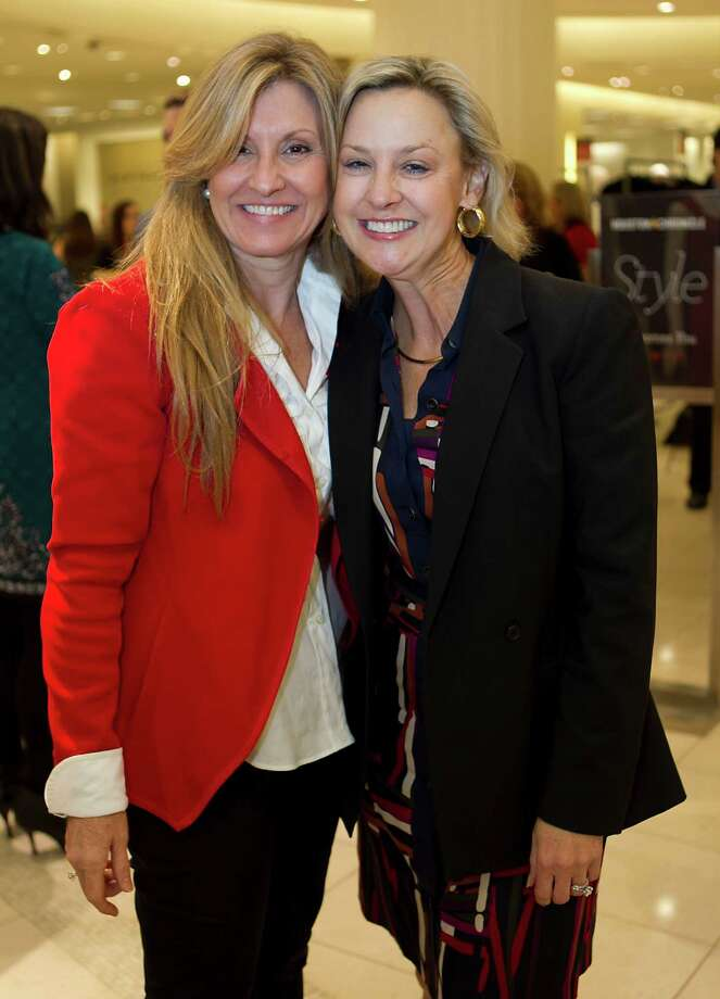Janet Rawl-Bourret left, and Marguerite Town during the Houston Chronicle's Style launch party at Saks Fifth Avenue Galleria Thursday, Nov. 8, 2012, in Houston.    ( James Nielsen / Chronicle ) Photo: James Nielsen, Staff / © Houston Chronicle 2012