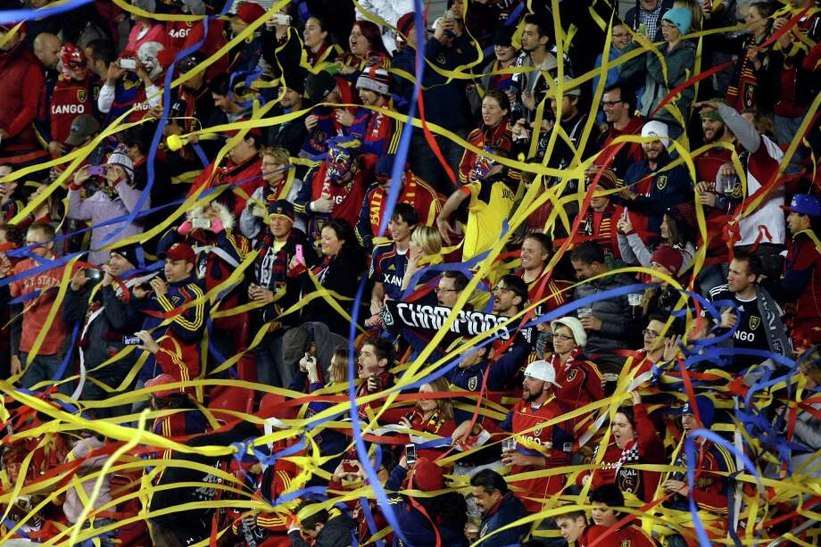 Real Salt Lake fans cheer during the first half of the MLS playoff game at Rio Tinto Stadium in Sandy, Utah, Thursday Nov. 8, 2012. Photo: AP