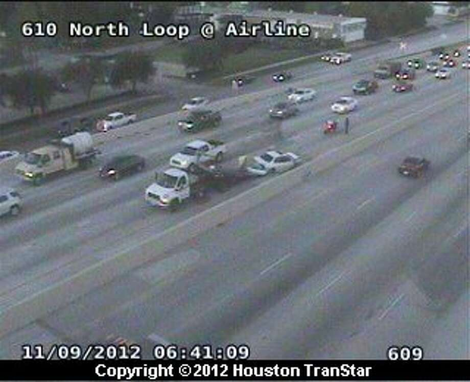 Traffic was snarled on the North Loop after a traffic crash during rush hour Friday morning. Photo: Houston Transtar
