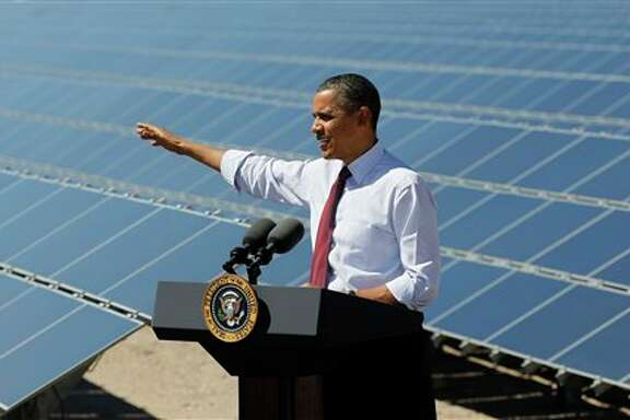 President Barack Obama speaks at Copper Mountain Solar 1 Facility in Boulder City, Nev.,Wednesday, March, 21, 2012.