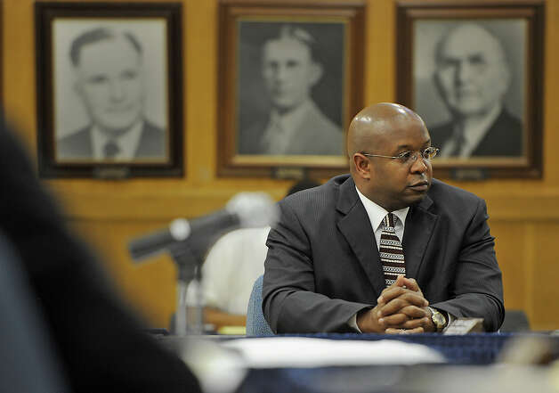 Timothy Chargois waits during a special meeting Tuesday night to sign a contract with the Beaumont Independent School District to be the next superintendent as of January 2013. The contract extends to June 30 of 2016 and offers $215,000 per year to Chargois. Photo taken Tuesday, May 1, 2012 Guiseppe Barranco/The Enterprise Photo: Guiseppe Barranco, STAFF PHOTOGRAPHER / The Beaumont Enterprise
