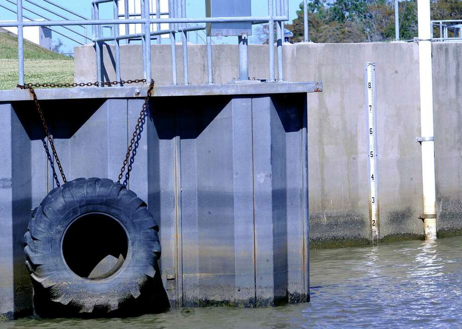 Near the Salt Water Barrier on the Neches River, water level marks could be see on bulkheads and on a depth gauge marker mounted on a wall. Questions are being asked if it's possible that we are in an extended dry period, and whether there is a chance of a drought returning into the new year. Dave Ryan/The Enterprise Photo: Dave Ryan