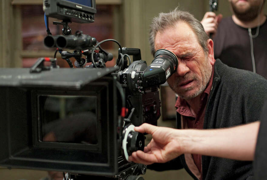 Tommy Lee Jones behind the camera during the filming of